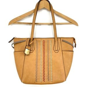 Kate Landry Tote Purse Tan Woven Detail Handbag